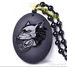 2019 natural obsidian wolf head pendant necklace fashion charm jewelry lucky amulet from xn127 19 96 dhgate com