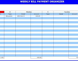 Bill Payment Organizer Template Monthly Bill Organizer Chart Essaywritesystem Com