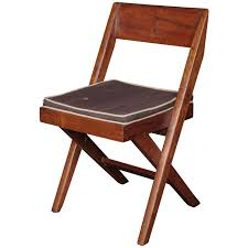 pierre jeanneret teak and cane library chair for