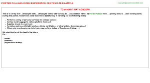 Employee Working Certificate Format New Porter Pullman Experience Certificate Template Format