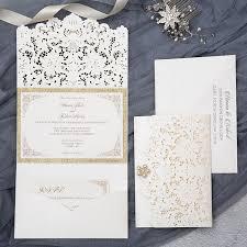 Invitations Formal Formal Elegant Ivory And Champagne Gold Glittery Pocket