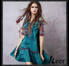<b>2019 Vintage</b> 70s <b>ethnic</b> short sleeve v neck embroidery dress for ...