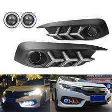 2016 Civic Fog Light Bulb Us 126 37 11 Off Car Led Drl Fog Light Projector Angel Eye Kit For Honda Civic Sedan 2016 2017 2018 In Signal Lamp From Automobiles Motorcycles On