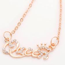 whole new fashion jewelry gold color queen letter necklace crystal pave personaliy princess pendant necklace for women girls diamond pendants necklaces