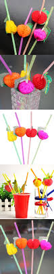 Random Color 50 pcs/pack Drinking Straws Plastic Fruit Straw For BBQ  Hawaiian Party Theme Decoration