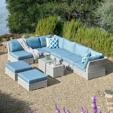 gray patio furniture. Grey Wicker Outdoor Furniture Piece Patio Set With Blue Cushions Garden Uk Gray D