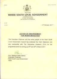 our endorsement letter from the warri south government warri now