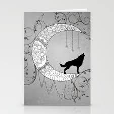 Moon Mandala Design Moon Mandala Design With Wolf Stationery Cards By Nicky2342
