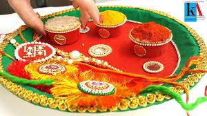 Pooja Ki Thali Design How To Make 2 Colours Decorated Pooja Thali Simple And Easy Puja Thali At Home Diy