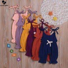 <b>Chivry</b> Summer Newborn <b>Baby</b> Girls Sleeveless Solid Cotton Linen ...