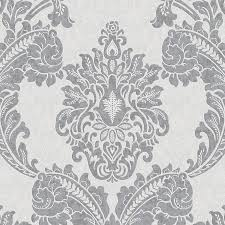 graham brown palais 56 sq ft gray vinyl textured damask wallpaper