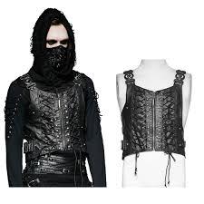 imitation leather vest black master with lacing