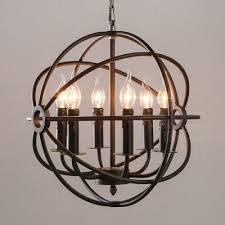 6 light led orb chandelier in wrought iron industrial style restaurant kitchen globe pendant light in