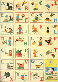 vintage abc francais flashcards printed