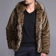 mens faux fur coats winter thick warm stylish hooded furry jacket cod