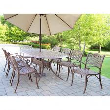 oakland living corporation dakota outdoor dining set with oval table 8 chairs 9 ft