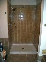 shower base stall installation completed tile floor drain concrete swanstone