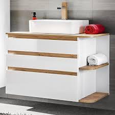 Badezimmer Waschtisch Mit Keramik Waschbecken Campos 56 Hochglanz Wei