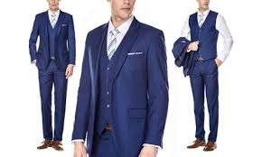 Braveman Mens Slim Fit 3pc Suits Blue Size 36rx30w