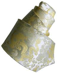 Damask Tie Golden Dragons