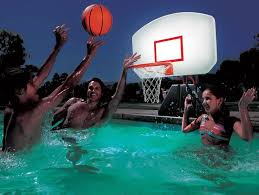 Lighted Poolside Basketball Hoop For Day Or Night Water Fun