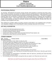 Cv For Teacher Primary Teacher Cv Example Learnist Org