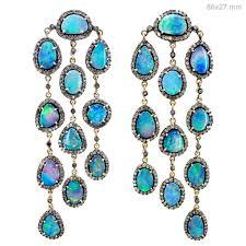 opal gemstone 14k gold chandelier earrings