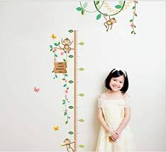 Monkey Growth Chart Wall Bibitime Monkey Growth Chart Wall Decal Flower Vines Vinyl Sticker Flying Butterfly Height Chart For Nursery Kids Room Children Bedroom Classroom