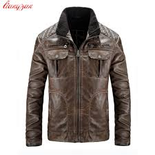 men leather jacket winter snow warm casual pu leather motorcycle coats male brand slim fit trench coats masculina sl e457