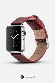 classic leather band in red for apple watch fits all apple watch series and sizes 42mm 38mm apple watch band hardware is color matched to you apple watch