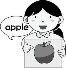 イラストポップ 学校のイラスト 英語no05リンゴが描かれたカードを持っ
