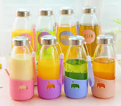 lemon glass mini drinking water bottles with lid cute cartoon milk