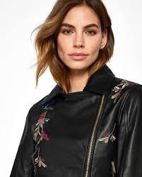 ted baker black jackets womens andraya highgrove leather biker jacket