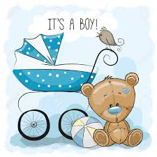 Greeting Card Its A Boy With Baby Carriage And Teddy Bear Royalty