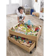 120 piece wooden train set reversible city table with storage drawer train toys 1 of 5only 3 available