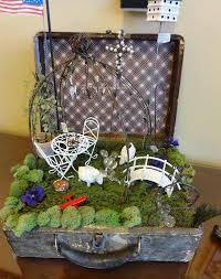 suitcase gardeni on wagon fairy garden gypsy for club
