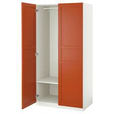 PAX wardrobe, white, Flisberget rust red-brown