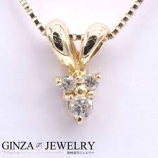 design having v shaped k18 yellow gold necklace diamond 3 stone