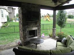 olathe outdoor fireplace on open porch