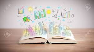 drawing of a colorful business scheme on an opened book stock photo 29133561