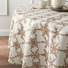 crate and barrel snowfall gold linen tablecloth 90 round nwot