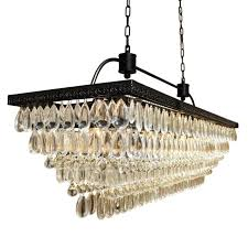 best black metal with glass drop contemporary rectangular chandelier for dining room decor