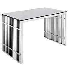 Image Funky Image Unavailable Amazoncom Amazoncom Modway Eei1450slv Gridiron Stainless Steel Office Desk