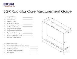Bgr Radiator Core Measurement Guide Bgr Radiator 25 Center