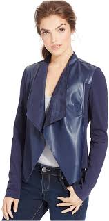 women s fashion outerwear jackets navy leather jackets kut from the kloth faux leather dd jacket