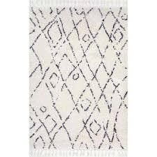 nieves moroccan diamond tassel off white 7 ft x 9 ft area rug