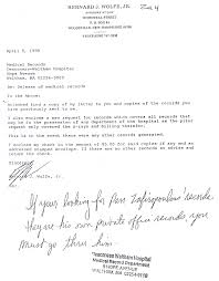 Medical Records Request Letter From Attorney Medical Mutilation Of Bernard J Wolfe Jr Page 1