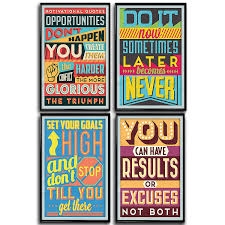 Motivational Inspirational Quotes Posters For Classroom Or College Posters Art Prints Positive Vibes Wall Poster Arts Set Of Four 11x17 1mm Thick