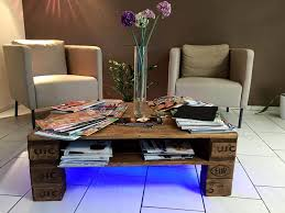 rustic pallet coffee table wit led lights