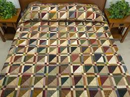Homespun Squares Quilt -- great cleverly made Amish Quilts from ... & Plaid Earthtones Homespun Squares Quilt Photo 1 ... Adamdwight.com